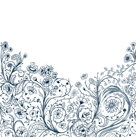 decorative floral background with different type of flowers Vector
