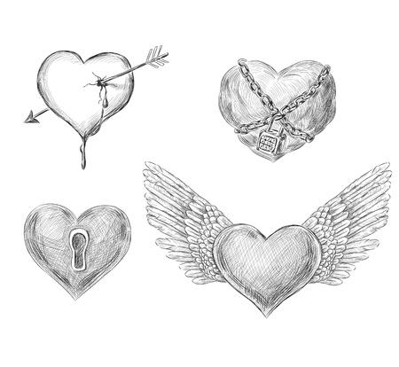 padlock: 4 hand drawn hearts for Valentine day design Illustration