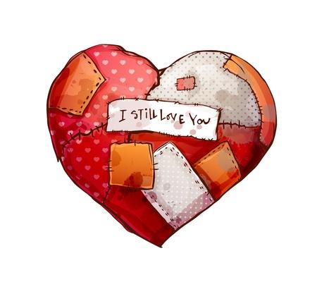 corazon roto: Tela del corazón con suturas y parches