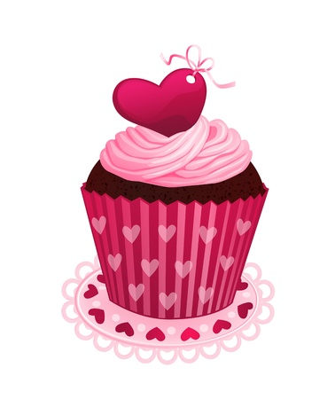 cupcake illustration: Chocolate cupcake with pink cream and red sugar heart