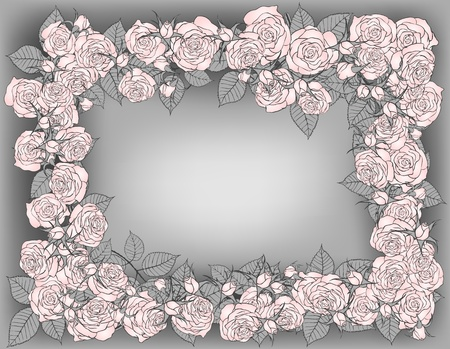 Valentine day background with frame of roses Vector