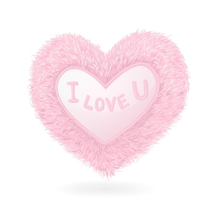 Pink plush heart on white background Illustration