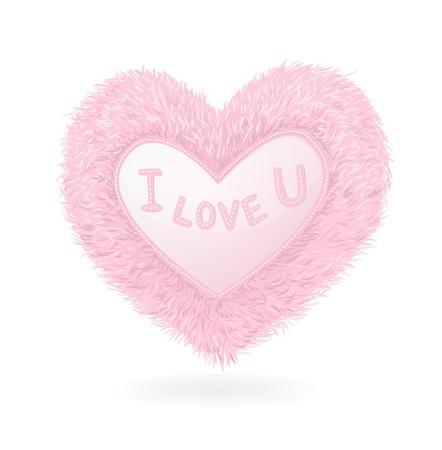 Pink plush heart on white background Stock Illustratie