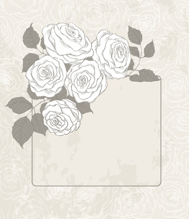 Bouquet of roses and card on grunge background Vector
