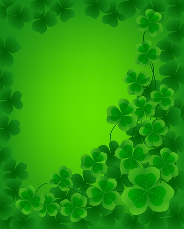St. Patrick day background with frame of clovers  Vector