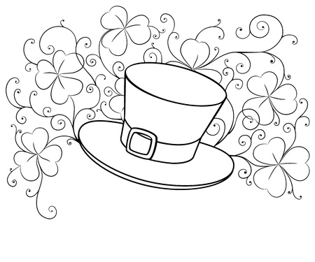 three leaf clover: Sketch drawing of St. Patrick hat and clovers