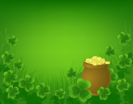 St. Patrick day background with pot full of gold and clovers Vector