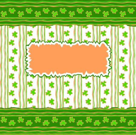 three leaf clover: St. Patrick day card with clovers and label