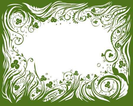 St. Patrick day background with floral frame and clovers Vector
