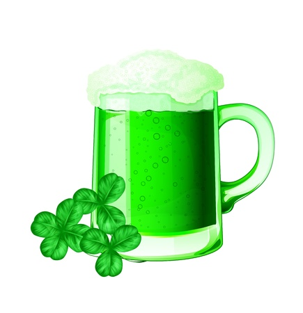 Green beer and clovers for St. Patrick day Vector