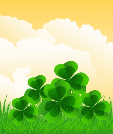 Grass and clovers on cloudy  orange  sky Vector