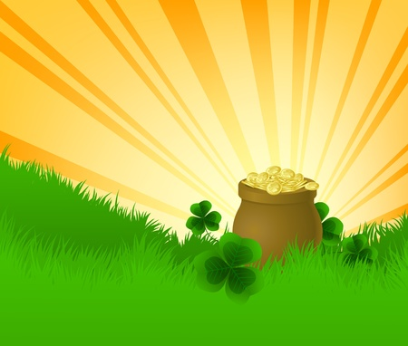 Grass, clovers and pot full of cold Stock Vector - 12248184
