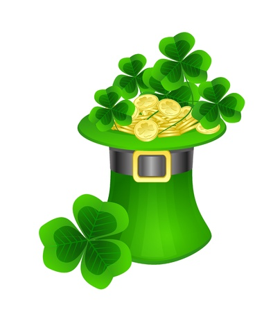 three leaf clover: St. Patrick  hat with coins and clovers