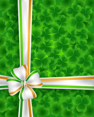 St. Patrick day background with  clovers  and ribbon Vector