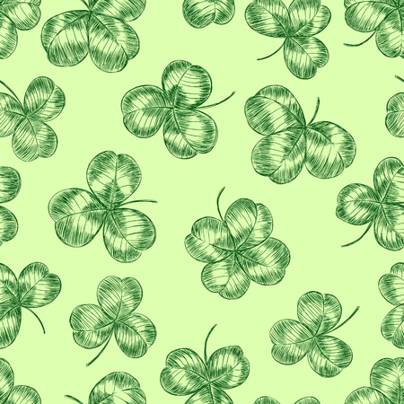 three leaves:  hand drawn seamless pattern with clovers Illustration