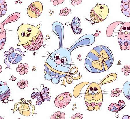 seamless  pattern with Easter eggs, bunnies and chickens