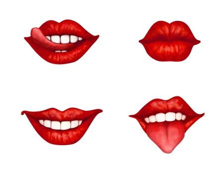 beso labios: juego de 4 labios femeninos rojos Vectores