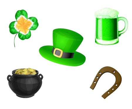 Clover, green beer, St.Patrick hat, pot full of gold and horseshoe Vector