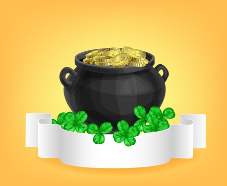 three leaf clover: Pot full of gold, clovers and scroll Illustration