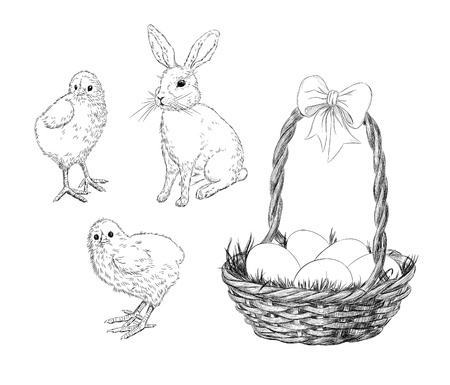 Hand-drawn chickens,rabbit and basket with Easter eggs Vector