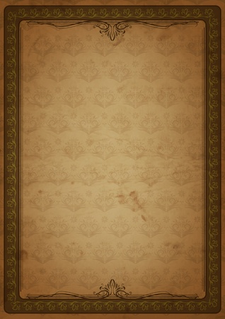 Grunge background with floral pattern and frame