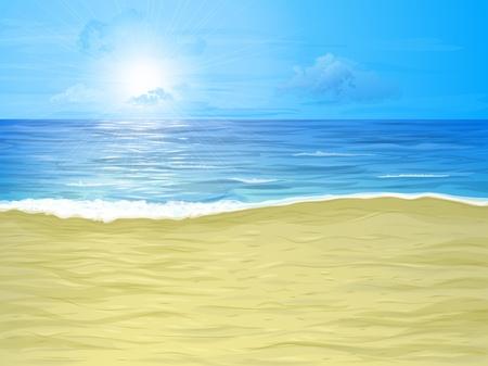 Empty sand beach, sea and cloudy sky