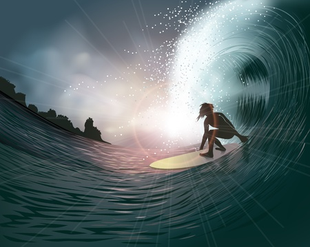 surfer: surfer and wave at sunset Illustration