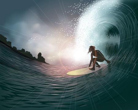 surfista e onda al tramonto