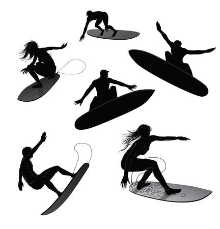 surf silhouettes: Set di 6 sagome di surfisti