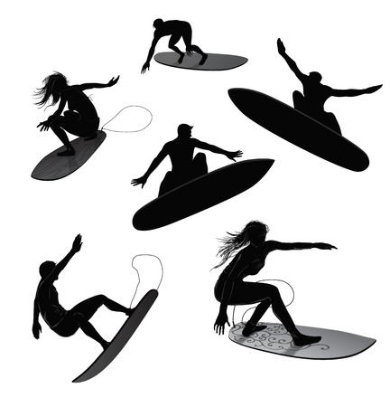 Set of 6 silhouettes of surfers Vector