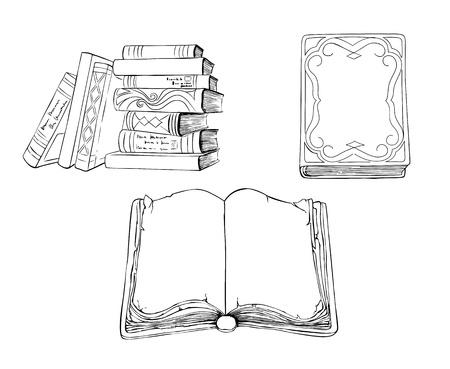 stapel papieren: Schets illustratie van oude boeken