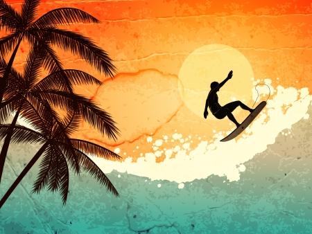 surf silhouettes: illustrazione di mare tropicale, surfista e palme al tramonto