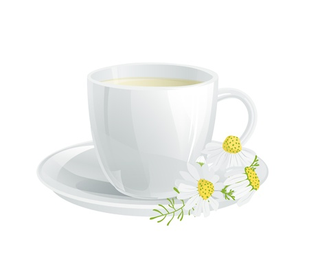 chamomile tea: Cup of tea with chamomile flowers
