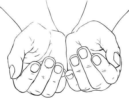 Hand -drawn illustration of cupped female hands Stock Illustratie