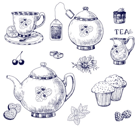 teapot:  Tea set, hand-drawn illustration