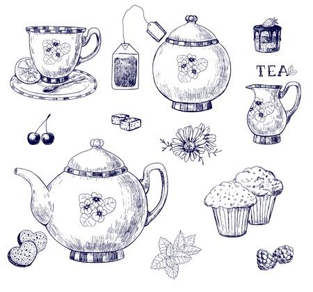kamille: Tee-Set, handgezeichnete Abbildung