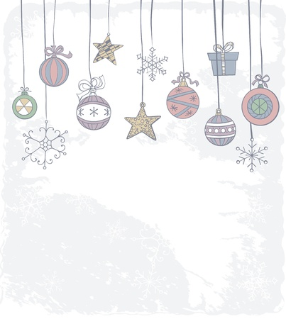 Hand -drawn Christmas decoration on grunge background Stock Vector - 14656330