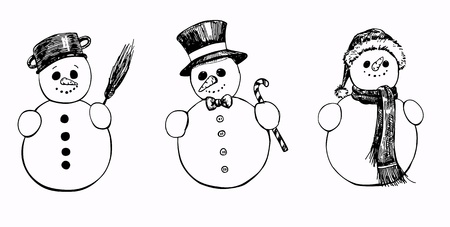 set of 3 hand drawn snowmen Illustration