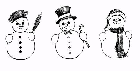 set of 3 hand drawn snowmen Stock Illustratie