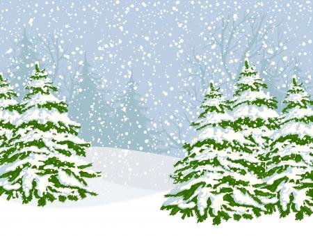 Paisaje de invierno con los abetos y la nieve que cae