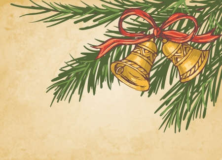 Christmas background bells and fir branches Vector