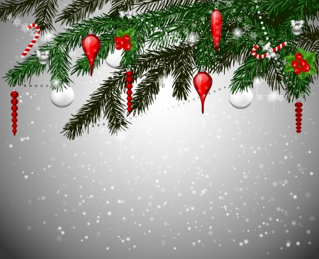 teardrop: Fir branches with Christmas decoration Illustration