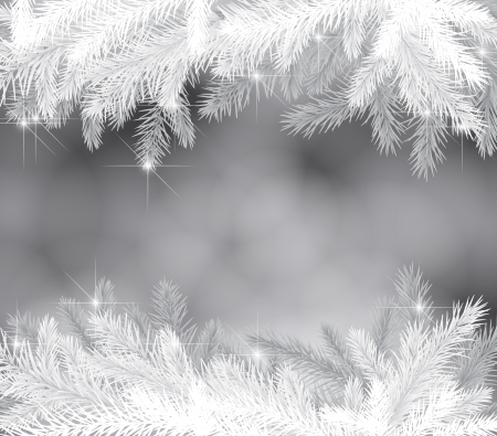 christmas snow: Christmas background with fir branches and lights Illustration