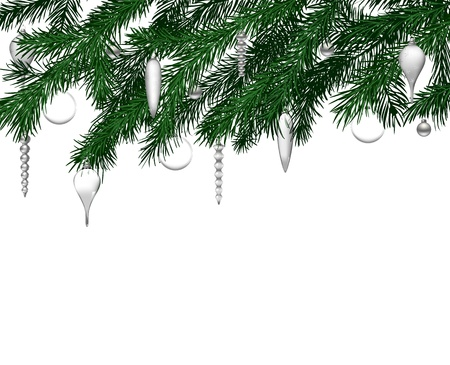 teardrop: Fir branches with Christmas decoration on white background