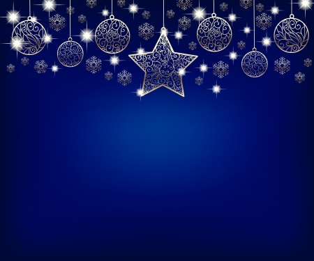 christmas star background: Christmas background with star, baubles and snowflakes