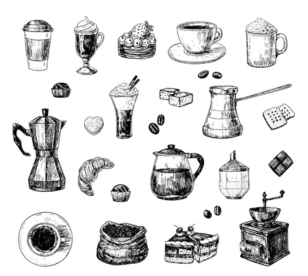 molinillo: Conjunto de dibujado a mano los objetos relacionados con el café Vectores