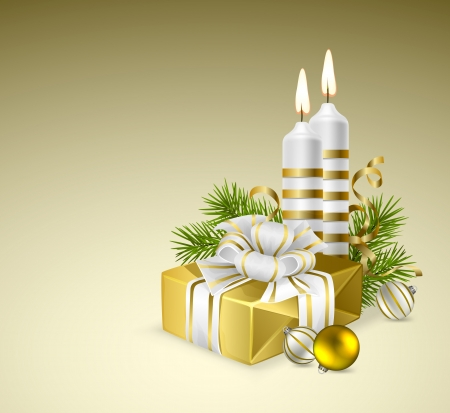 candle flame: Fir branches with Christmas gift, candles and baubles Illustration