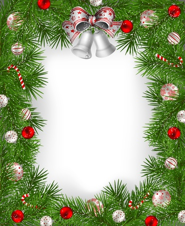 Frame of fir branches decorated with baubles and bells Vector