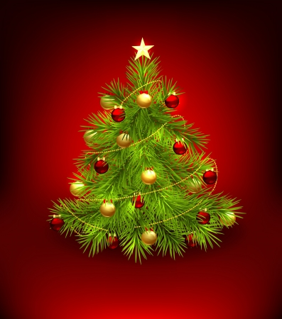 fir tree balls: Christmas tree decorated with baubles and star Illustration