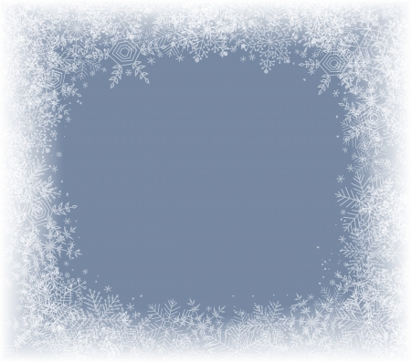 snow falling: Winter background with frame of snowflakes Illustration
